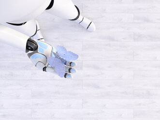 Robot holding butterfly in his hand, 3d rendering - AHUF00498
