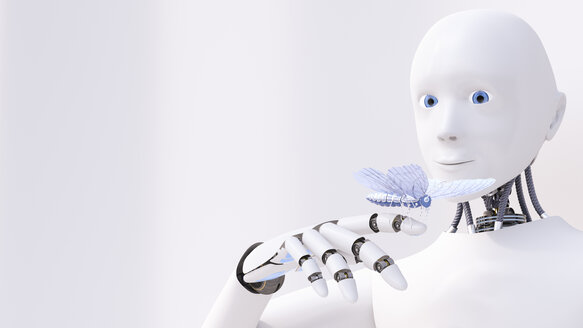 Robot looking at butterfly on his finger, 3d rendering - AHUF00501
