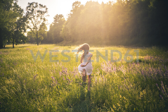 Back view of girl running on flower meadow at evening twilight - SARF03744 - Sandra Roesch/Westend61