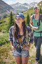 Couple hiking in Rocky mountains, Breckenridge, Colorado, USA - ISF01323