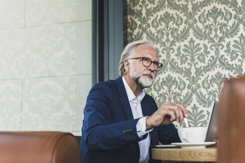 Mature businessman sitting at table in a cafe with laptop and cup of coffee - UUF13679