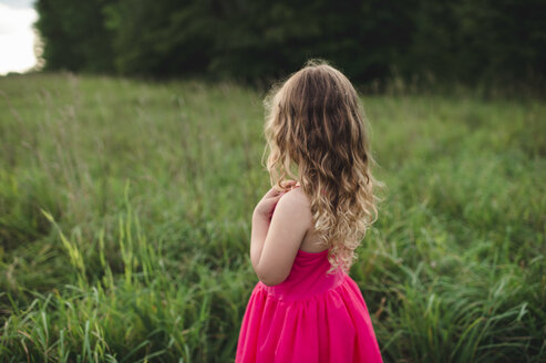 Rear view of blond haired girl looking out over field - CUF05975
