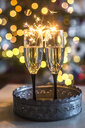 Two champagne glasses and sparklers in front of Bokeh - SARF03749