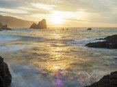 Spain, Biscay, Basque Country, Euskadi, San Juan de Gaztelugatxe, bay at sunset - LAF02034