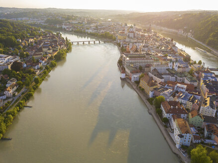 Germany, Bavaria, Passau, city of three rivers, Aerial view of Danube and Inn river - JUNF01034