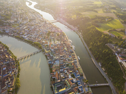 Germany, Bavaria, Passau, city of three rivers, Aerial view of Danube and Inn river - JUNF01037