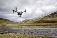 United Kingdom, Scottland, drone flying over river - MJOF01501