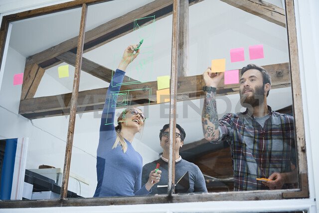 Design team writing on adhesive notes and drawing on design studio window - CUF06888