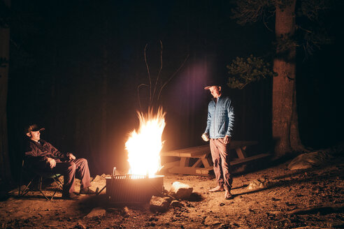 Friends camping in forest by campfire, Mammoth Lake, California, USA, North America - CUF07257