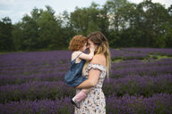 Mother and daughter in lavender field, Campbellcroft, Canada - CUF07700