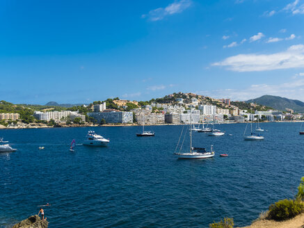 Spain, Balearic Islands, Mallorca, Bay of Santa Ponca, Hotels in the background - AMF05743