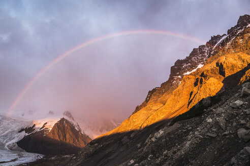 Rainbow and dramatic sky over Torre glacier in Los Glaciares National Park, Patagonia, Argentina - CUF08053