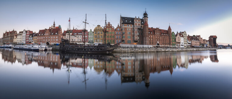Poland, Gdansk, lighted panoramic city view with museum ship on Motlawa river - HAM00276