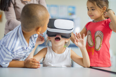 Children in kindergarten with VR glasses - ZEF15458