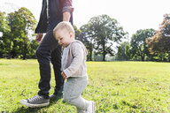 Father walking hand in hand with son in a park - UUF13804