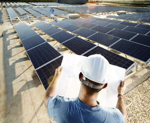 Back view of engineer looking at plan in front of solar plant - CVF00534