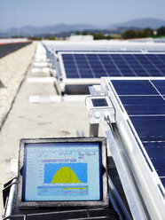 Measuring device in front of solar plant, close-up - CVF00543