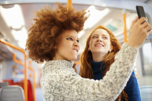 Friends taking selfie with mobile phone on train, London - CUF09309