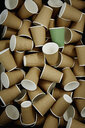 Full frame green recyclable coffee cup among disposable cups - CAIF20549