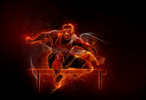 Computer generated image track and field athlete jumping hurdles - CAIF20561
