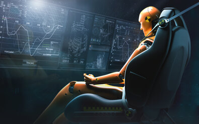 Computer generated image crash test dummy reviewing data - CAIF20564