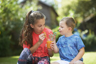 Teenage girl and brother sharing fresh smoothie in garden - CUF11187