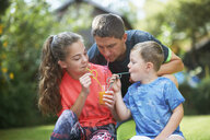 Mature man with teenage daughter and son sharing fresh smoothie in garden - CUF11190