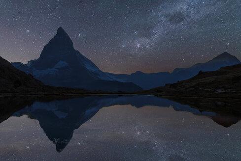 The Matterhorn under starry sky, Zermatt, Switzerland - CUF11253