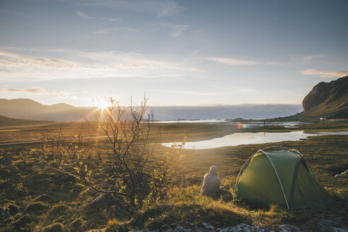Norway, Lofoten, Moskenesoy, Young man camping at Hovdanvika - GUSF00904