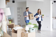 Couple moving into new flat carrying cardboard box and plant - ABIF00423