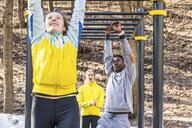 Friends exercising at monkey bars in a park - WPEF00319
