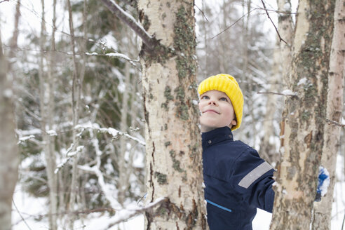 Boy in yellow knit hat looking up at tree in snow covered forest - ISF03082