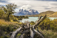 Mountain landscape with Grey Lake, Paine Grande and Cuernos del Paine, Torres del Paine national park, Chile - ISF03457