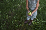 Young girl holding fresh apple, low section - ISF03757
