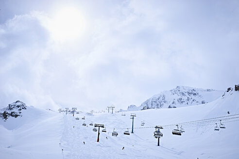 Snow-covered with ski lifts, Hintertux, Tirol, Austria - ISF04117