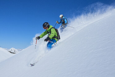 Father and son on skiing holiday, Hintertux, Tirol, Austria - ISF04129