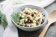 Bean salad, with black beans, chickpea, apple, spring onion and dill - IPF00458