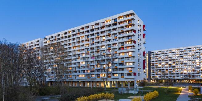 Germany, Stuttgart, Hallschlag, high-rise district at blue hour - WDF04671