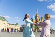 Russia, Moscow, happy and carefree teenage girls on the Red Square - WPEF00339