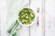 Green asparagus salad with helically coiled cucumber and feta cheese - LVF06991