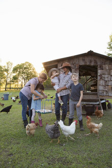 Family on farm, surrounded by chickens, mother and daughter holding tray of fresh eggs - ISF05418