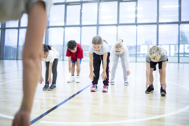 Pupils exercising in gym class - WESTF24119