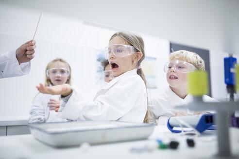 Frightened schoolgirl in science class - WESTF24128