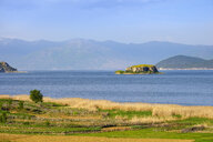 Albania, Prespa National Park, Lake Prespa with Maligrad Island, Macedonia in the background - SIEF07779