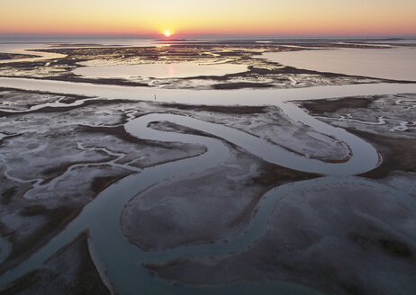 USA, Virginia, Aerial view of Virginia Coast Reserve, marshes at sunset - BCDF00345