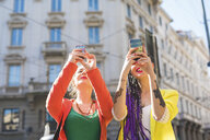 Women taking selfie, Milan, Italy - ISF05993