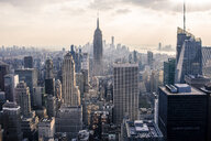 Elevated cityscape view with skyscrapers and the Empire State Building, New York City, USA - ISF06086