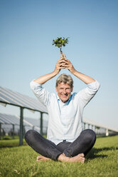 Mature man holding privet over the head, solar plant - MOEF01170
