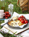 Baked ricotta with vine tomatoes on book outdoors - CUF13873