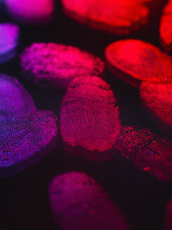 Identity, human finger prints shown up using light - CUF13984